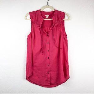 Odille Deep Pink Sleeveless Button Down Tank Top